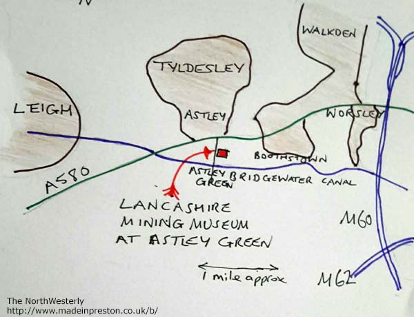 Map to Lancashire Mining Museum at Astley Green