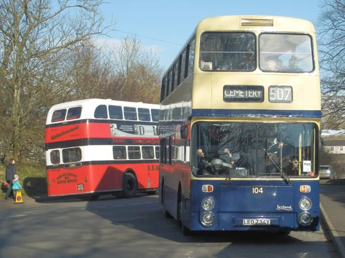 ex BBMS bus at Kirkby Stephen Rally with ex Barrow Corp Atlantean