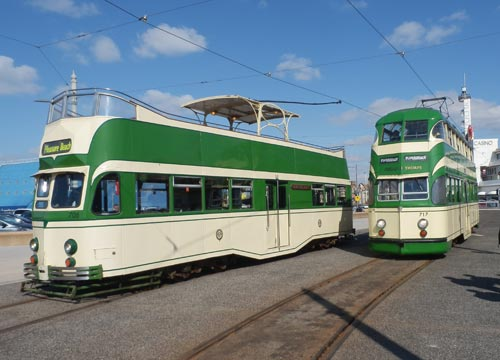 Photograph of two Made In Preston trams operating at Blackpool Easter 2013