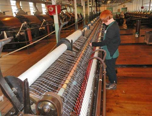 Helmshore Mills Textile Museum - carding and spinning demonstration