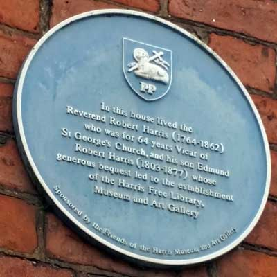 Blue Plaque at the Home of Rev Harris, Ribblesdale Place Preston
