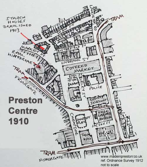 Preston town centre 1912 www.madeinpreston.co.uk