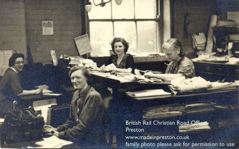 photo of my mother working in the railway offices at Christian Road Preston, 1948ish
