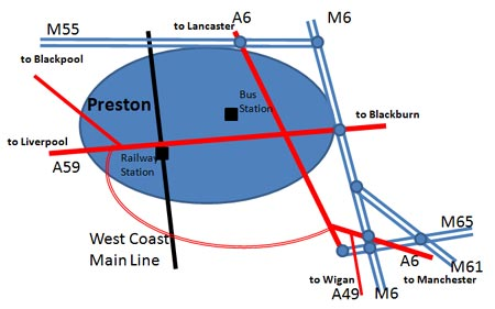 roads around Preston