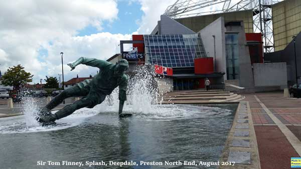 Splash! Tom Finney statue at Deepdale.