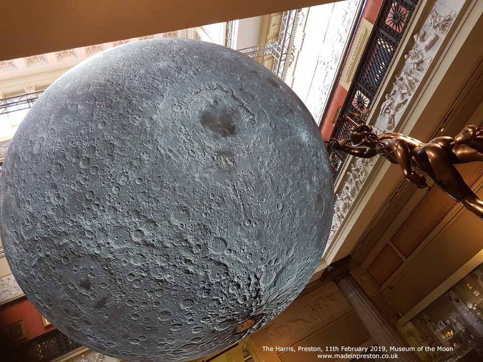 Museum of the Moon at the Harris.  The 23ft diameter model hanging over the atrium.