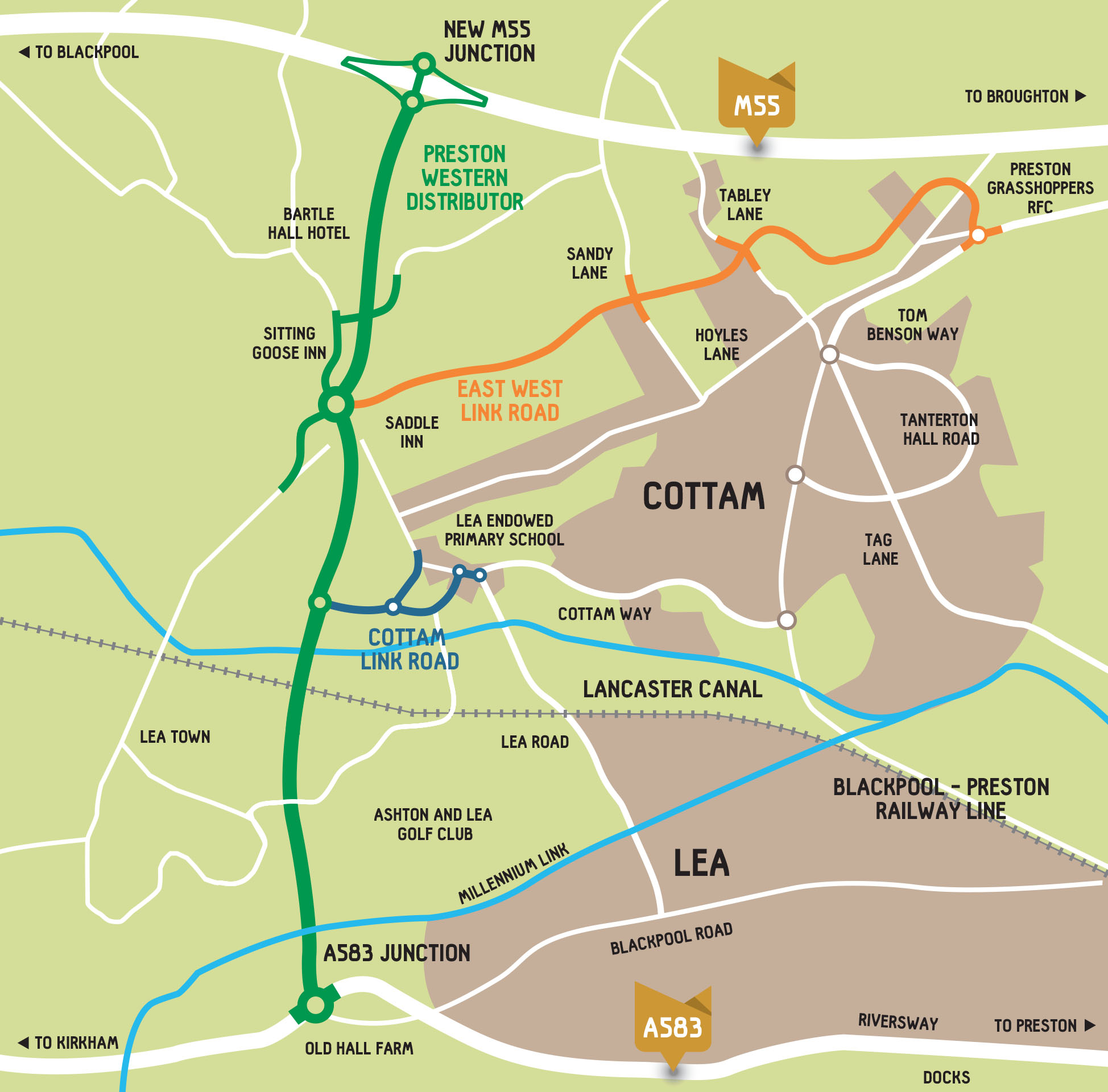 map of the Preston Western Distributor Road to be opened early 2023